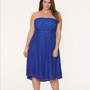 NWT LANE BRYANT Blue Eyelet Lace Tube Dress